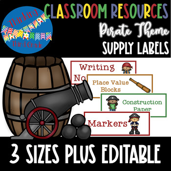Pirate Theme Supply Labels in 3 Sizes PLUS Editable Versions