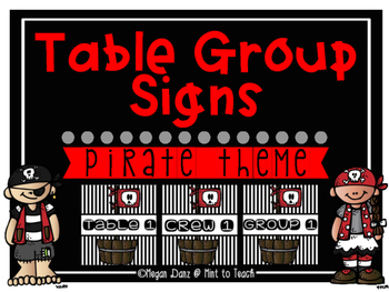 Pirate Theme Table Group Signs