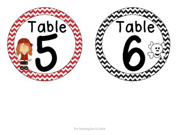 Pirate Theme Table Numbers