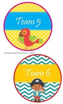 Pirate Theme Team & Table Circle Signs - EDITABLE