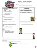 Pirate Theme Weekly Behavior Report - Word Format