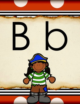 Pirate Theme Word Wall Headers/Alphabet Cards (in 3 sizes/styles)