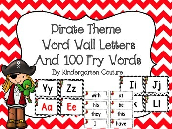 Pirate Theme Word Wall Letters and 100 Fry Words