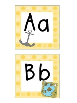 Word Wall Letters and Alphabet Heading Pirate Theme