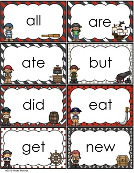 Pirate Theme - Word Wall Word Cards - Classroom Decor