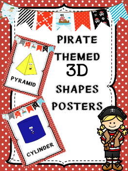 Pirate Themed 3D Shapes Posters