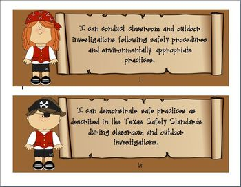 "3rd Grade Pirate Themed Science TEKS ""I Can"" statement Posters"