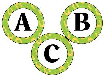 Editable St. Patrick's Themed 4 inch Circular Bulletin Board Letters