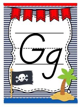 Pirate Themed Alphabet Posters-D'nealian Font