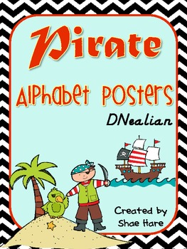 Pirate Themed Alphabet Posters {Ship Treasure Polly Ocean} DNealian Font