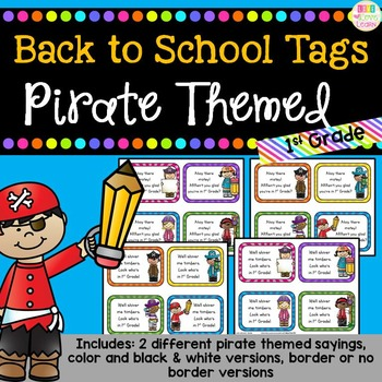 Pirate Themed - Back to School Gift Tags for 1st Grade