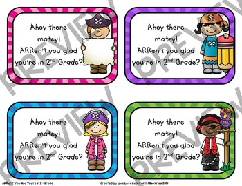 Pirate Themed - Back to School Gift Tags for 2nd Grade