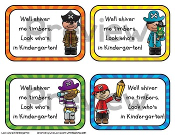 Pirate Themed - Back to School Gift Tags for Kindergarten