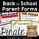 Pirate Themed Back to School Parent Forms