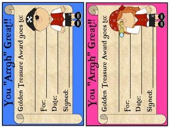 Pirate Themed Behavior Clip Chart Set & Certificates