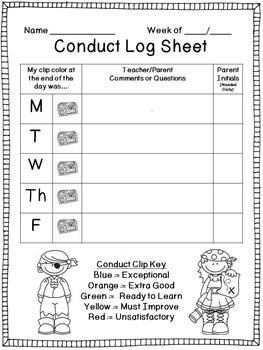 Pirate Themed Behavior Clip Chart with Conduct Log Sheet