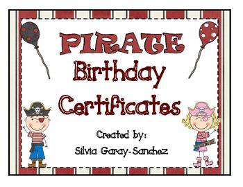 Pirate Themed Birthday Certificates