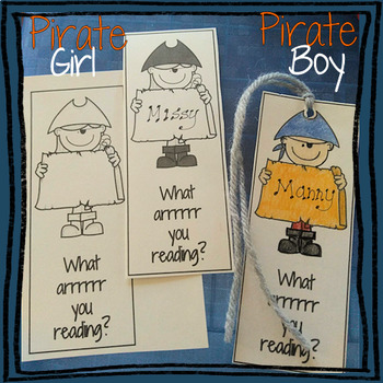 Pirate Themed Bookmarks Valentine's / Gifts / Projects - B&W PRINTABLE