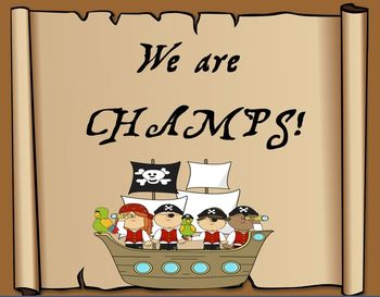 CHAMPS pirate themed behavior management posters