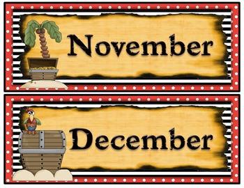 Pirate Themed Calendar Months
