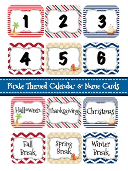 Pirate Themed Calendar & Name Cards