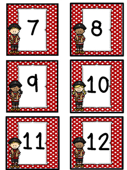 Pirate Themed Calendar Numbers