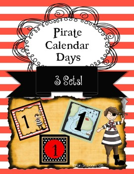 Pirate Themed Calendar Numbers - 3 sets