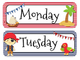 Pirate Themed Calender Headers l Months and Days of the Week
