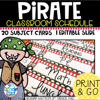 Pirate Themed Classroom Schedule with Editable Slide