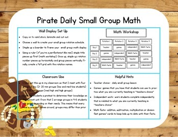 Pirate Themed Classroom Small Group Math Center/ Workshop Setup