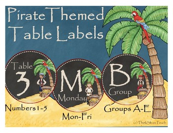 Pirate Themed Classroom Table Labels