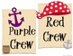 Pirate Themed Colored Crew Signs