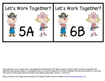 Pirate Themed Cooperative Learning Desk Tags