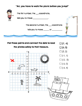 Pirate Themed Coordinate Plane Notes
