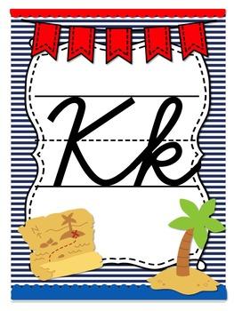 Pirate Themed Cursive Alphabet Posters-D'nealian Font