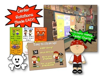 Pirate Themed Daily Automated Centers & Guided Reading Rotation Powerpoint
