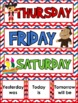 Pirate Themed Days of the Week Headers Signs