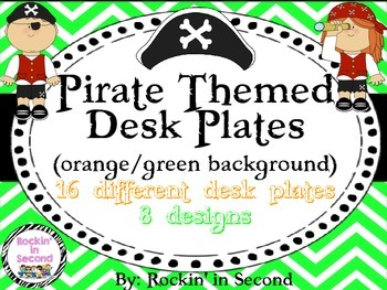 Pirate Themed Desk Plates in Orange & Green