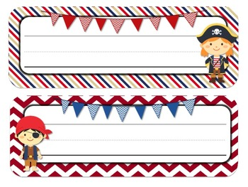 Pirate Themed Desk Tags and Name Plates