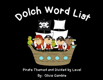 Pirate Themed Dolch Sight Words Word Wall