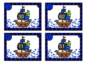 Pirate Themed Double Digit Subtraction with No Regrouping