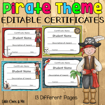 Pirate Themed Editable Certificates