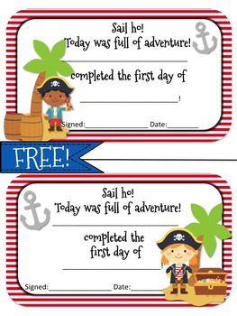 Pirate Themed First Day Award FREEBIE!
