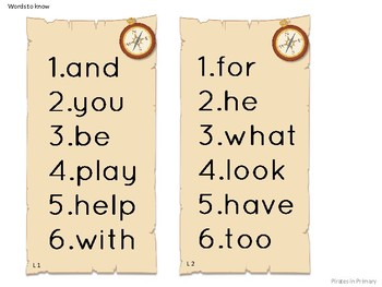 Pirate Themed First Grade ELA Spelling and Words to Know Focus Wall signs