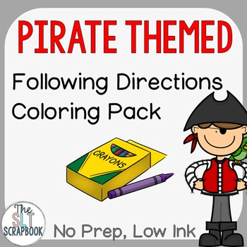 Pirate Themed Following Directions Coloring Pack- No Prep
