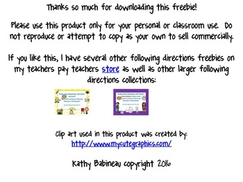 Pirate Themed Following Directions Freebie!