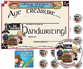 Pirate Themed Handwriting Award & Stickers