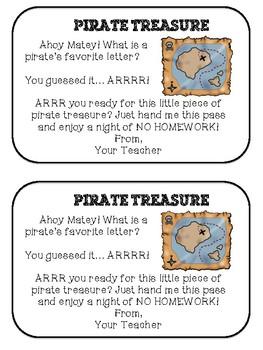 Pirate Themed Homework Passes