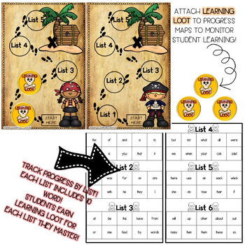 Pirate Themed K-1st Grade Sight Word Assessment/Tracking Method