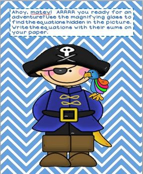 "Pirate Themed ""Magnify-cent"" Math Sums of 8 and 9"